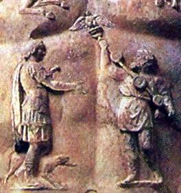 Augustus' breastplate shows Parthia returning the eagle standard.