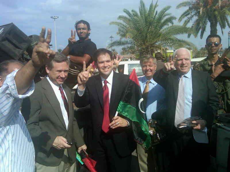 jesuit bitches in libya, rubio mccain kirk graham
