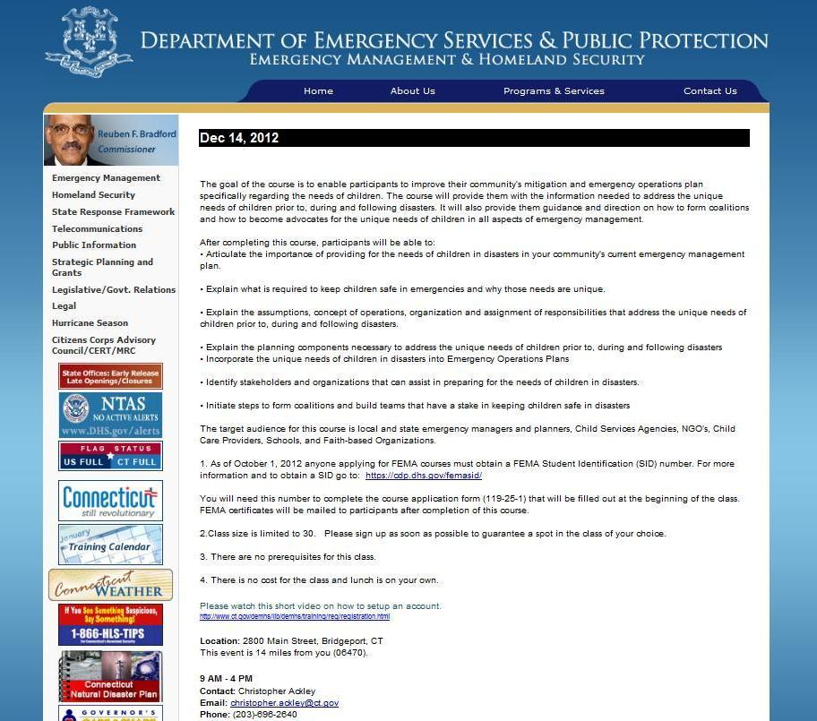 CT DEMHS planning needs of children in disasters 14DEC2012 details