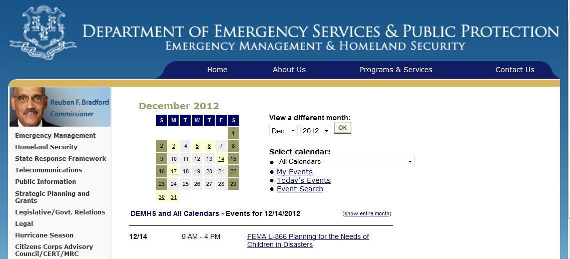 CT DEMHS planning needs of children in disasters 14DEC2012