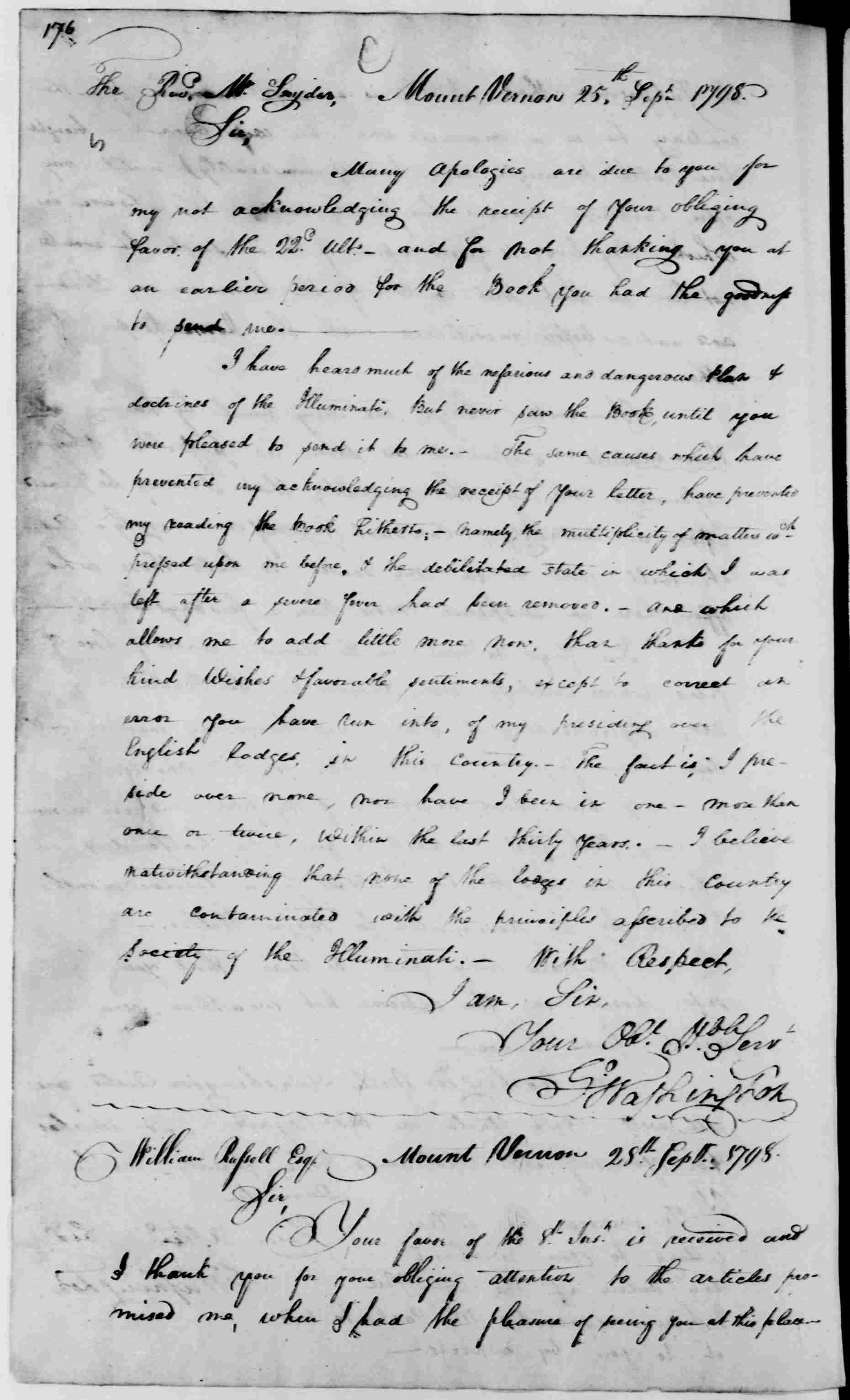 George Washington to George Washington Snyder, September 25, 1798