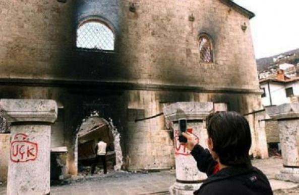 Orthodox Church in Kosovo-Metohija, Serbia destroyed by Albanian KLA muslim terrorists