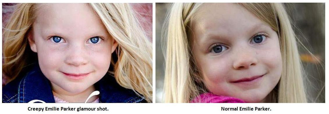 creepy Emilie Parker glamour shot vs. normal