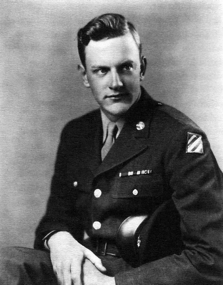 Army Private James K. Arness landed at Anzio for the invasion of fascist Italy in 1944 and was wounded in the leg (which required a full year of rehabilitation). Arness is pictured here proudly wearing the patch of the Third Infantry Division. It is a patch also worn by Audie L. Murphy.