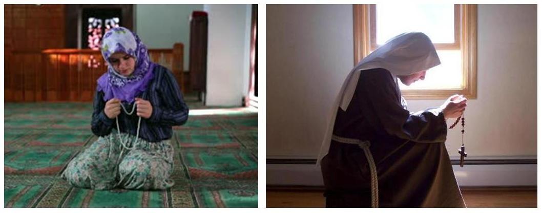 muslim woman catholic nun in prayer with beads