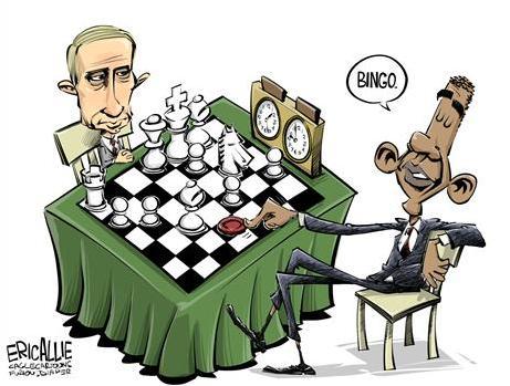 putin obama chess vs bingo checkers