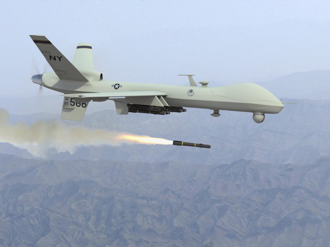 Predator Firing Maverick Missile