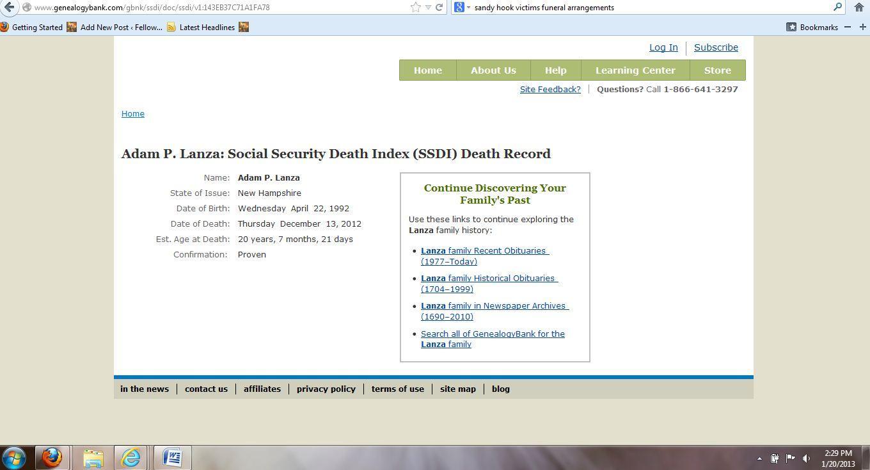adam lanza social security death index
