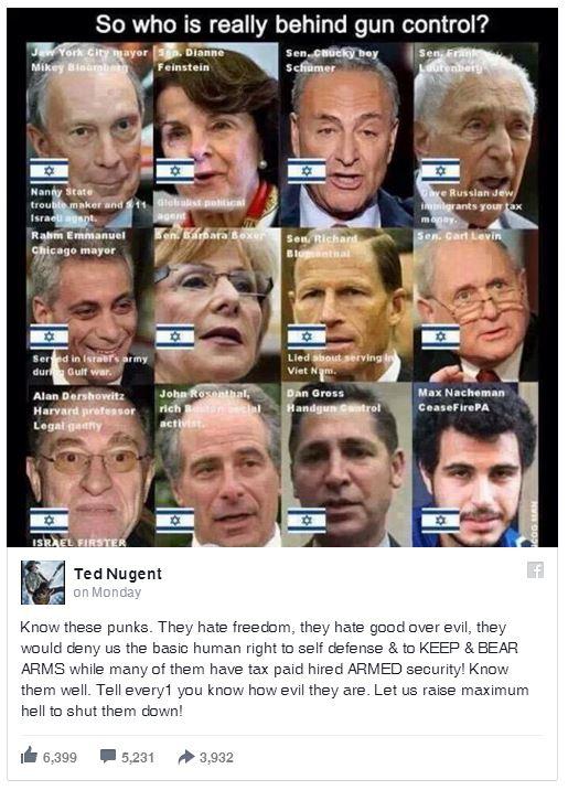 nugent's jew-hating fb post