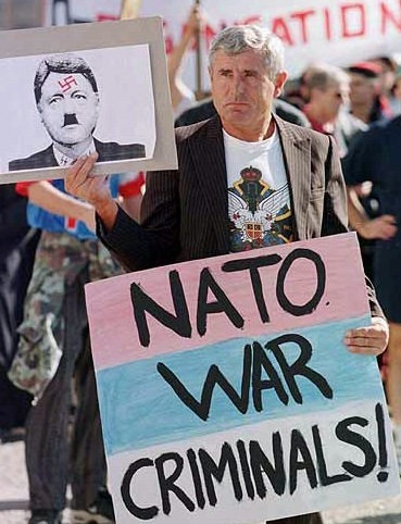 serb protests war criminal clinton